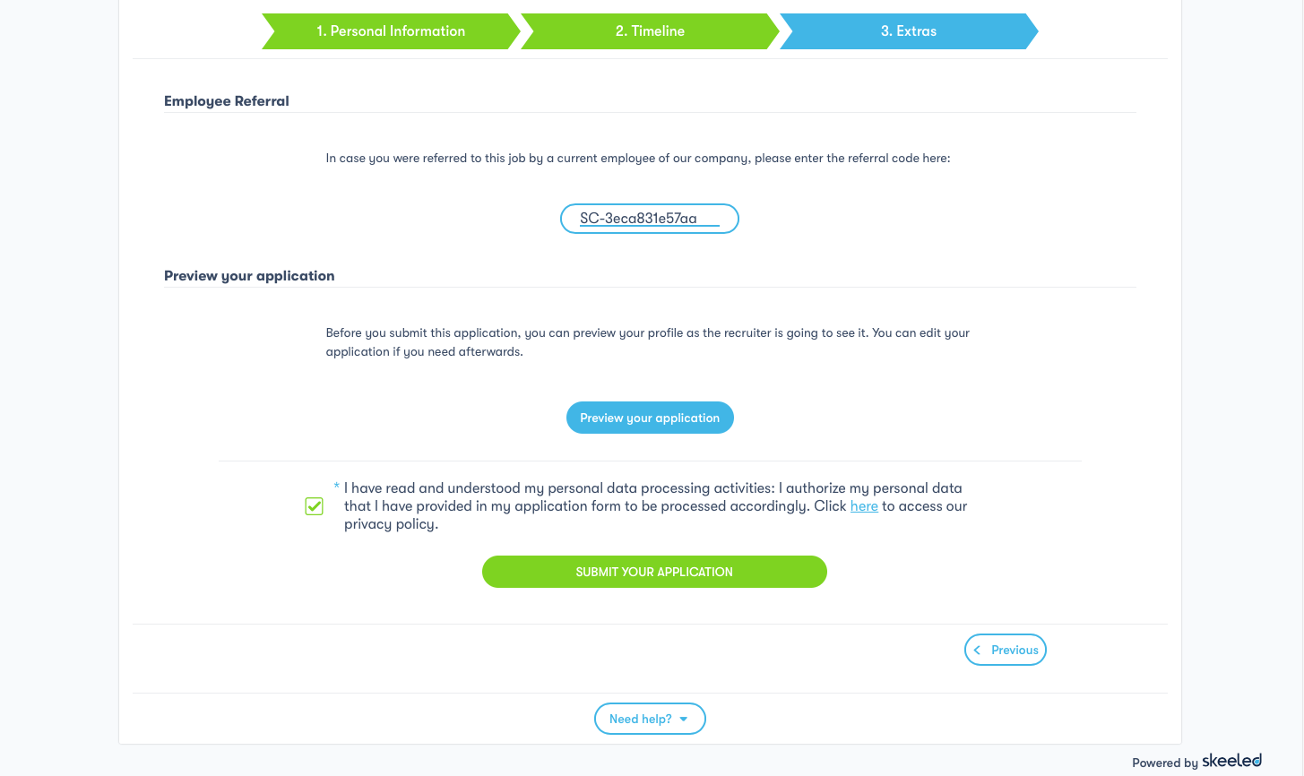 1.1 - employee referral code field on the application form