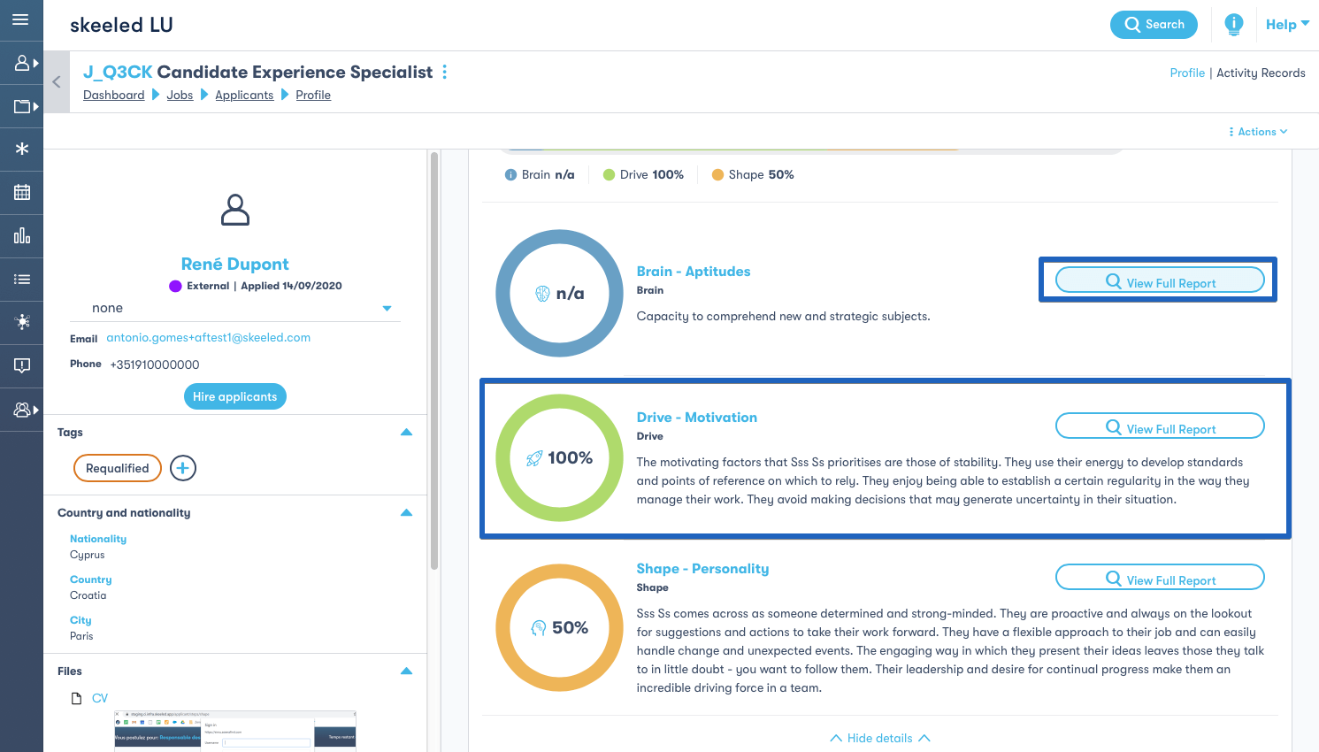 Pre-employment tests results summary