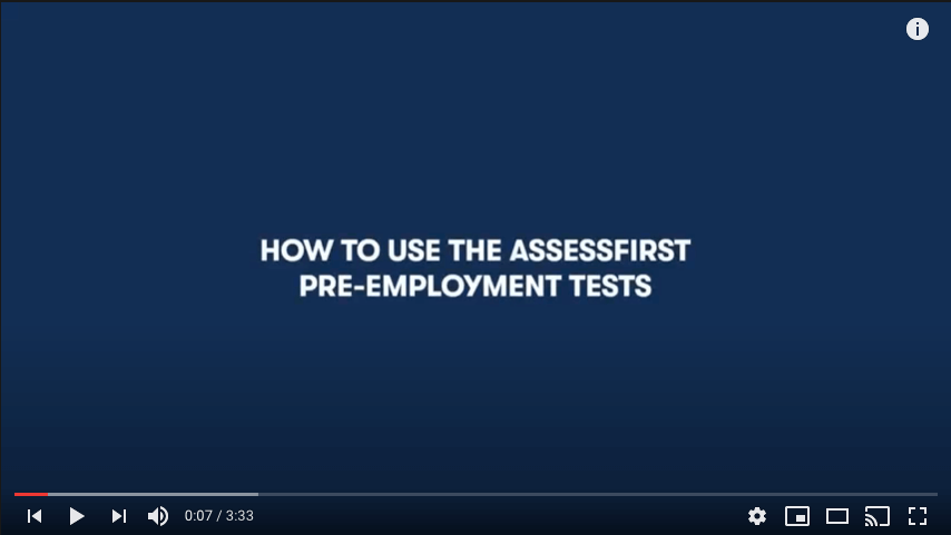 How-to video use the AssessFirst pre-employment Tests - YouTube